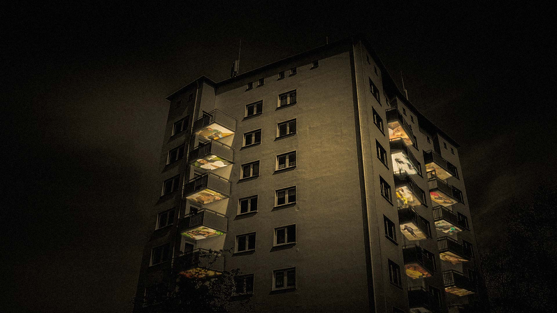 Balconies of a high-rise building turn into projection screens for a media installation