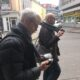 Ronald Gaube and Peter Hölscher making field recordings in the streets of Dortmund