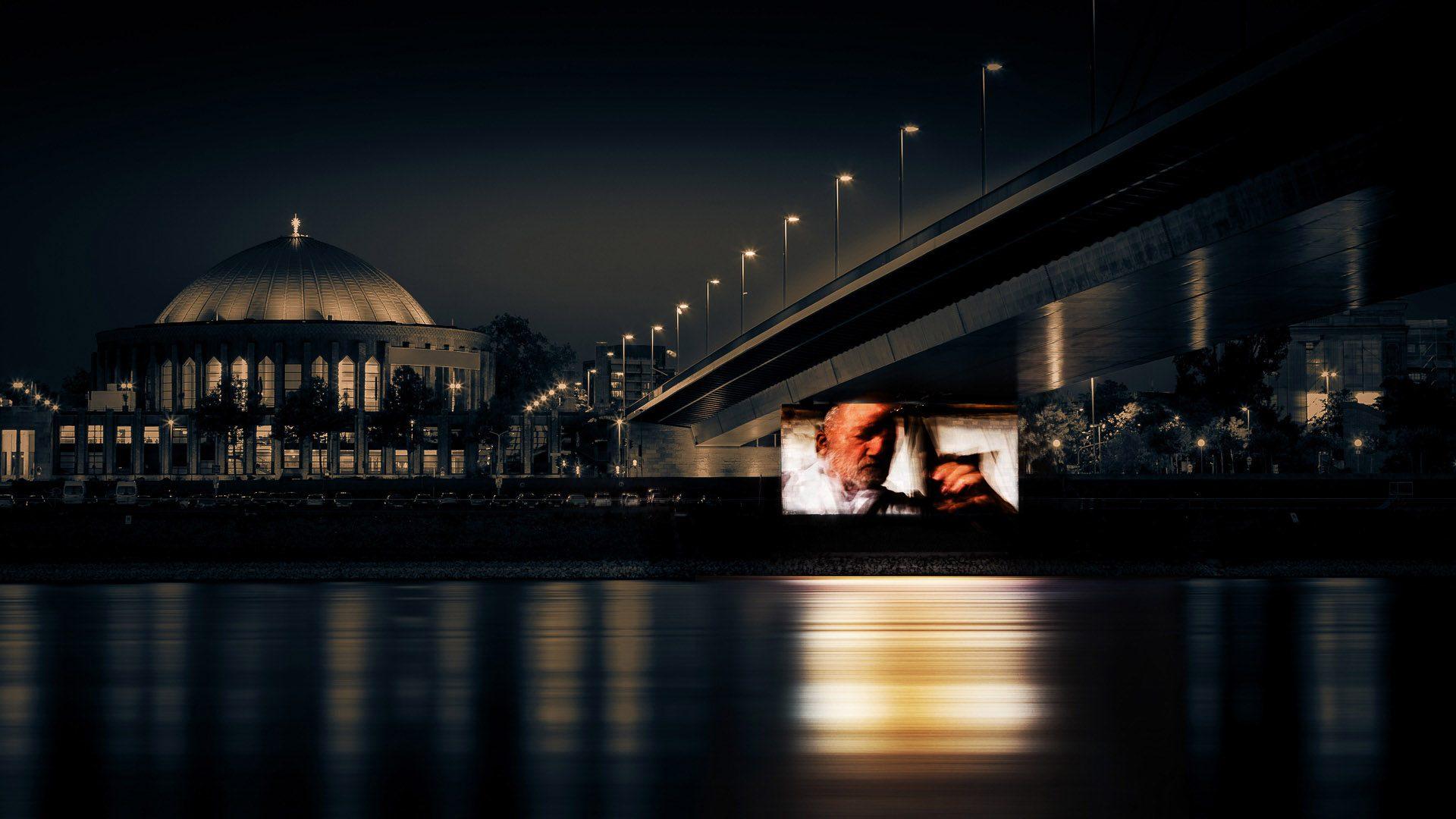 Projection on a pylon of the Oberkasseler Rhine bridge in Düsseldorf