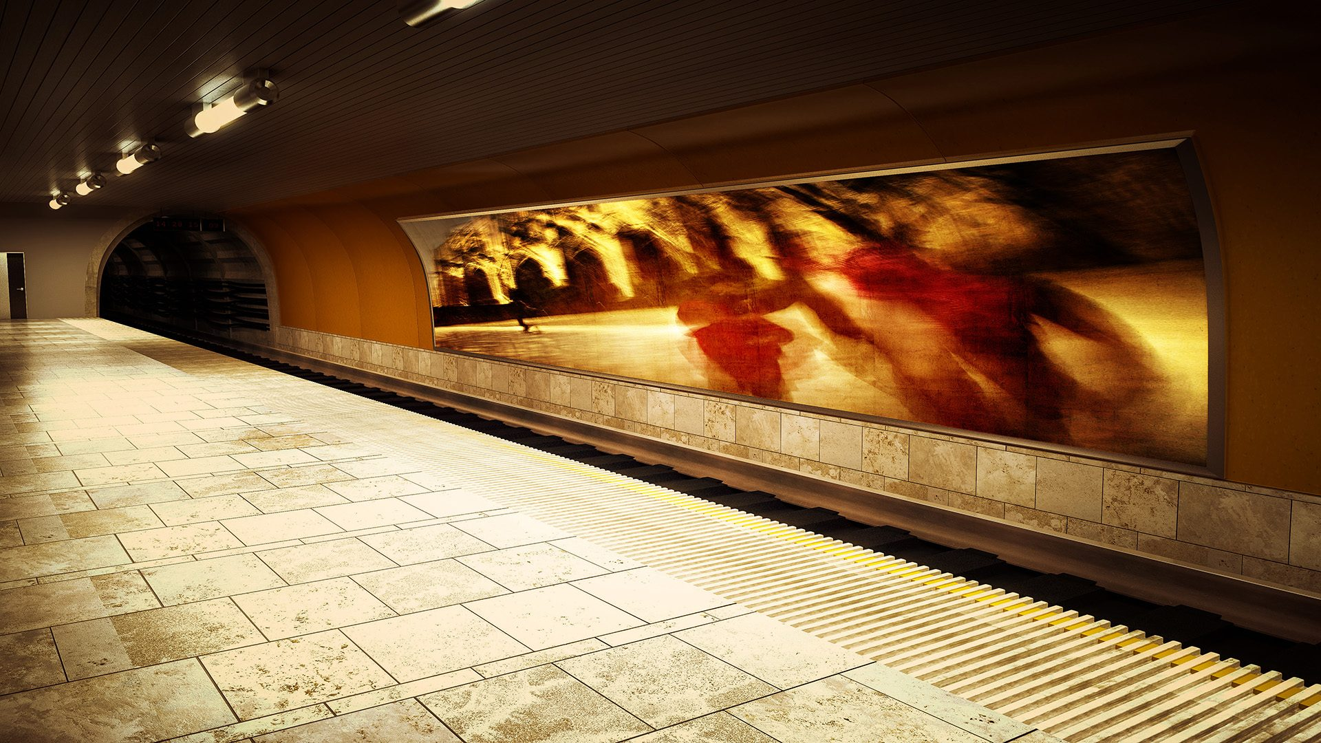 Video-sound installation in a subway station
