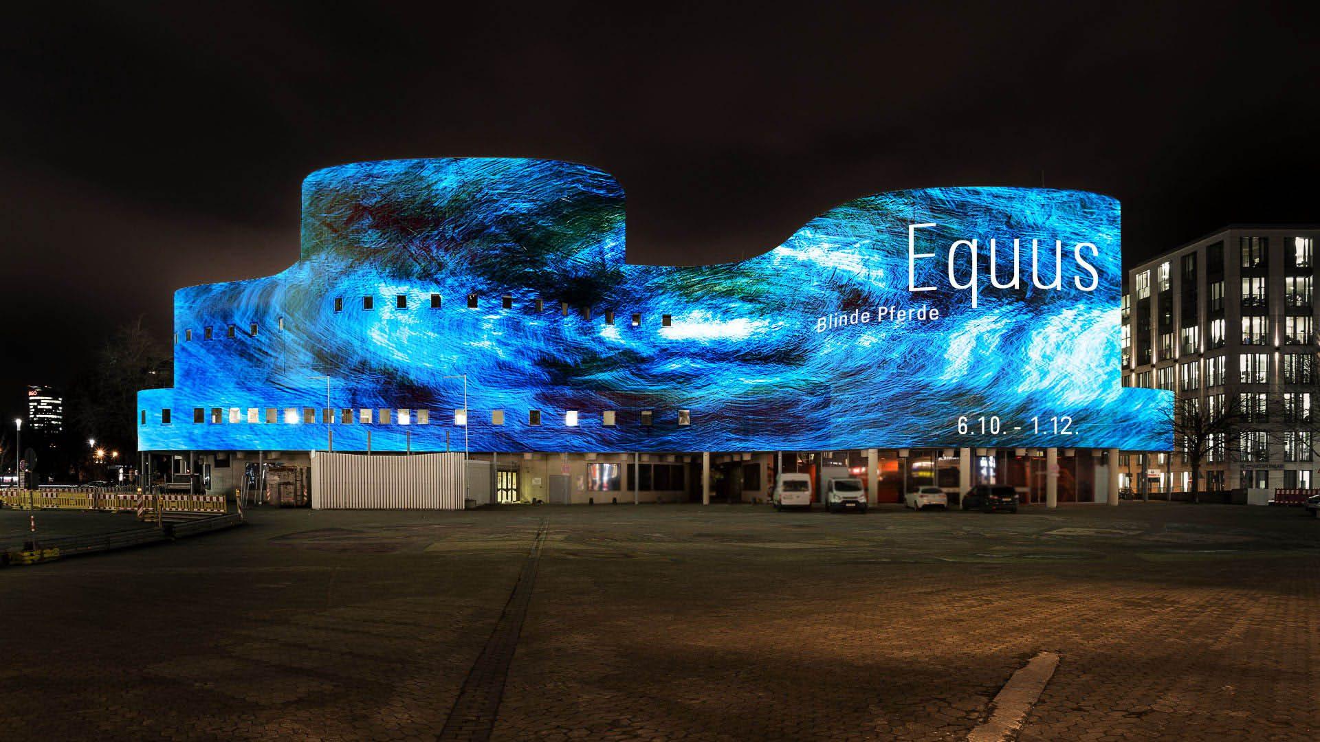Videomapping on the facade of the Schauspielhaus Düsseldorf